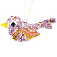 Exclusieve vogel hanger van prachtige paars,roze en geel Murano millefiori glas.