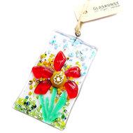 Raamhanger handgemaakt van helder glas met een prachtige rood-gele millefiori bloem