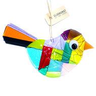Grote gekleurde glazen vogel hanger. Decoratieve vogel handgemaakt van speciaal glas in allerlei kleuren! Glasfusing decoratie