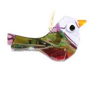 Glazen vogel hanger van prachtig lila, paars, roze, rood en groen helder glas
