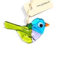 Kleine vogel hanger van helder groen, blauw en lila glas. Glaskunst uit eigen atelier!