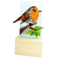 Glazen roodborstje in hout. Glaskunst uit eigen atelier.