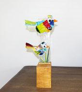 Glazen vogels staand object uit eigen atelier. Unieke glasfusing